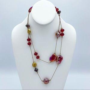 Vintage Red Aurora Borealis Glass Beads Gold Tn Nk